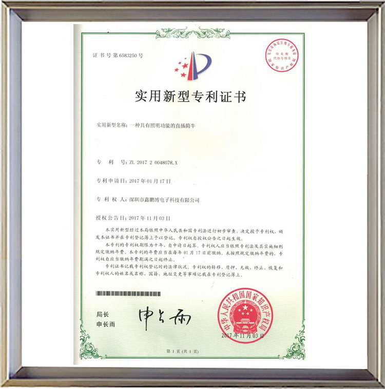一种具有照明功能de直cha简牛实yong新型专利zhengshu