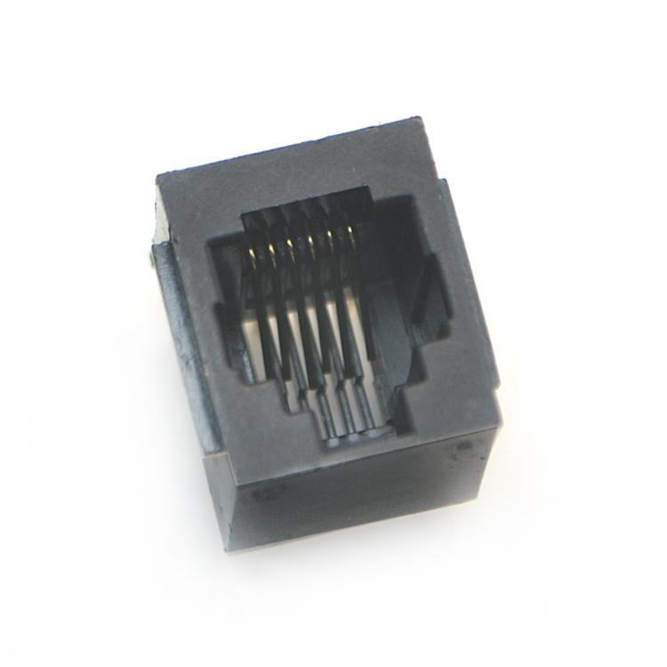 RJ11-6P6C 全su 黑色 带耳 直插