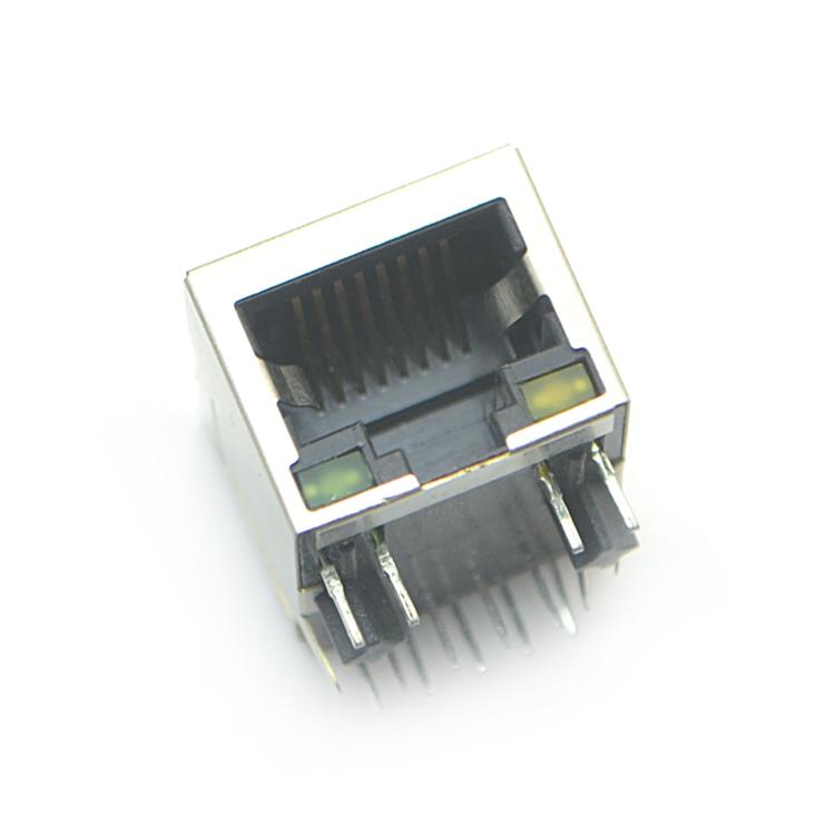 RJ45-10P10C 下带灯 弯插
